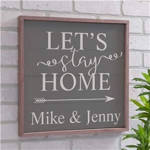 Personalized Lets Stay Home Pallet Wall Decor | Personalized Pallet Signs