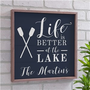 Personalized Life Is Better At The Lake Wood Pallet Wall Decor | Personalized Lake Signs