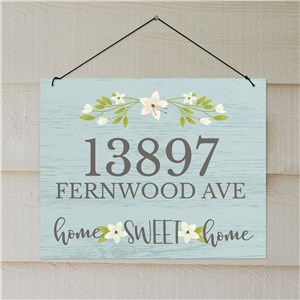 Personalized Floral Home Sweet Home Address Sign | Personalized Address Signs