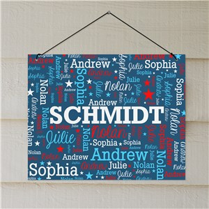 Personalized Patriotic Family Word-Art Wall Sign | Personalized Family Name Sign