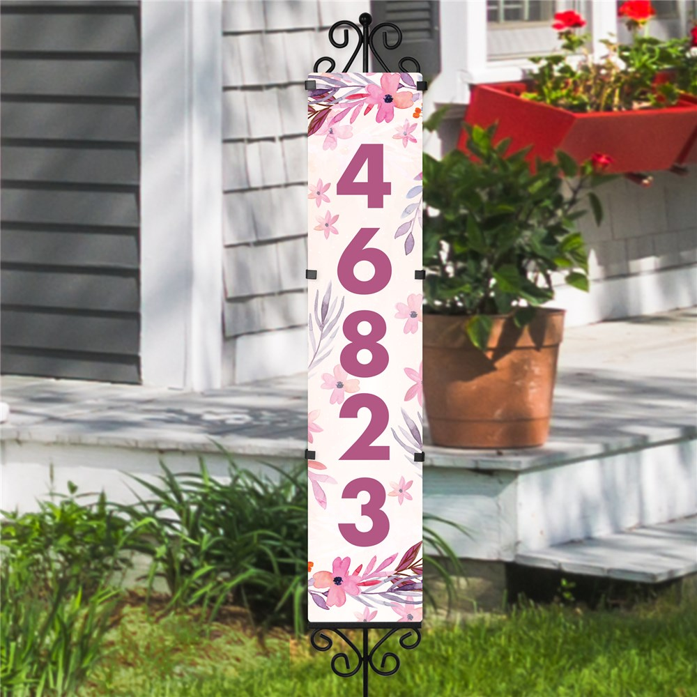 Personalized Address Stake Watercolor Flowers Expression | Personalized Address Sign