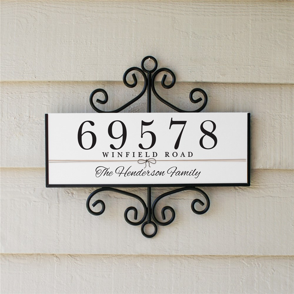 Bow Signature Horizontal Personalized Address Sign | Personalized Address Sign