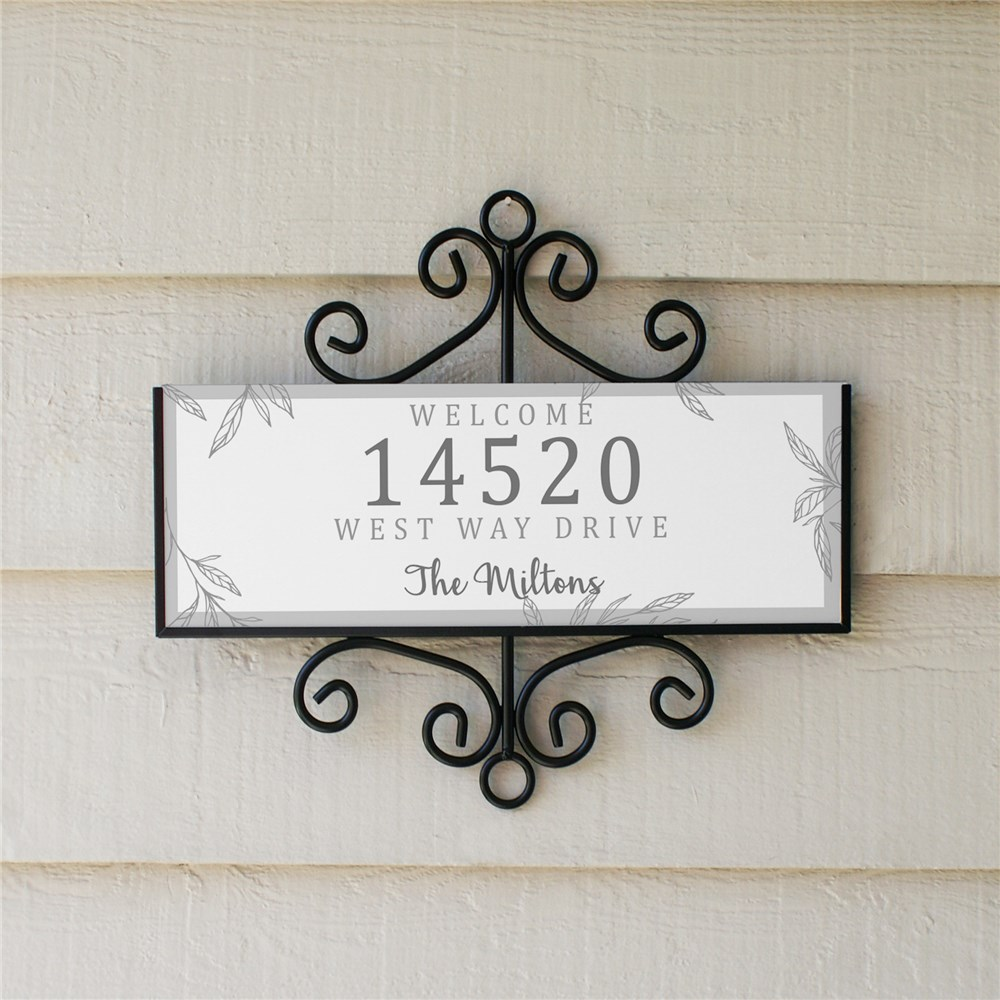 Personalized Address Sign Welcome Leaves Signature Horizontal | Personalized Address Sign
