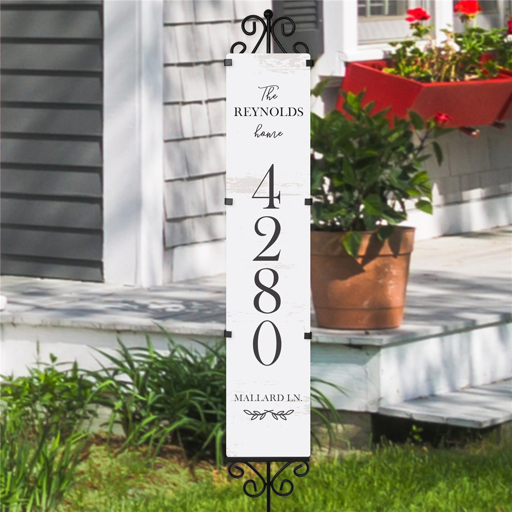 Personalized Address Yard Sign White Distressed | Personalized Address Sign