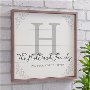Personalized Family Framed Wall Sign | Personalized Family Name Wall Signs