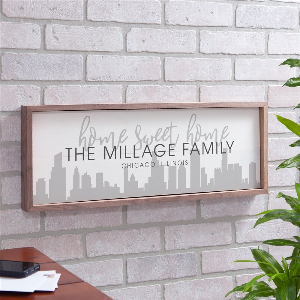 Personalized Home Sweet Home City Skyline Framed Wall Sign | Personalized Cityscape Art