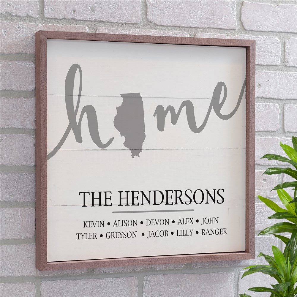 Personalized State Framed Wall Sign | Personalized Family Name Signs