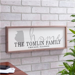 Personalized Home State Framed Wall Sign | Personalized Family Name Sign