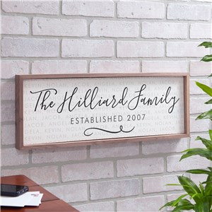Personalized Family Established Framed Wall Sign | Personalized Family Name Wall Art