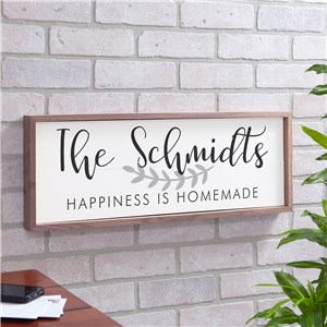 Personalized Happiness Is Homemade Framed Wall Sign | Personalized Family Name Sign