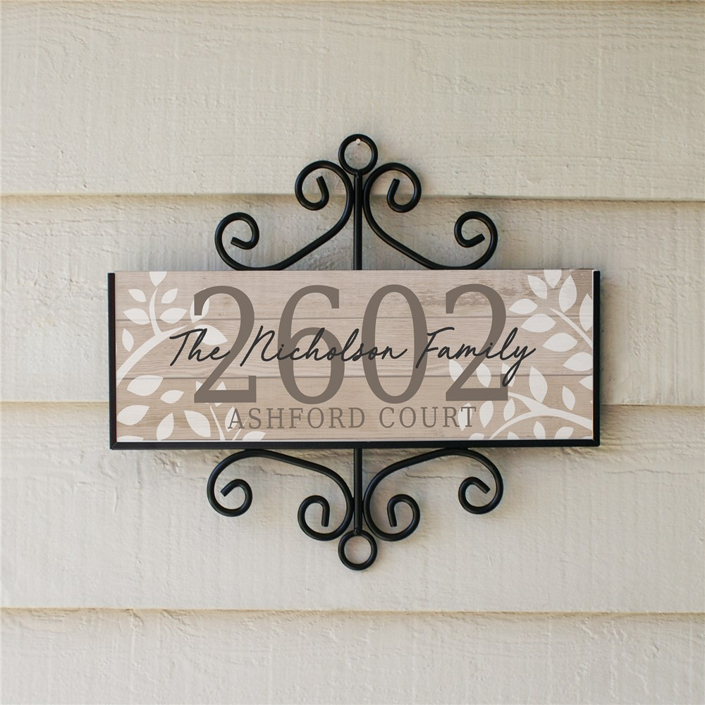 Personalized Address Sign Floral Signature Horizontal | Personalized Home Address Sign