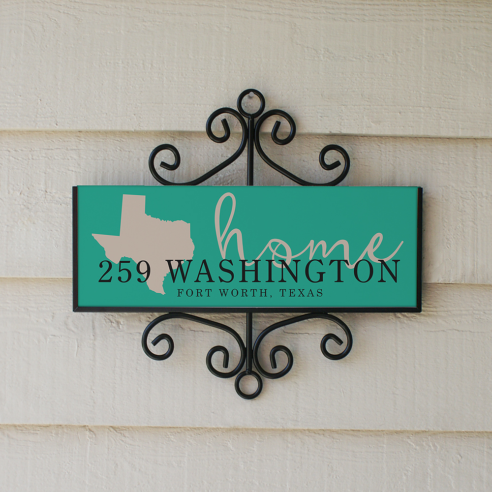 Personalized Address Sign State Home Signature Horizontal | Personalized Address Sign