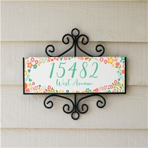 Colorful Floral Signature Horizontal Personalized Address Sign | Personalized Address Signs For Home