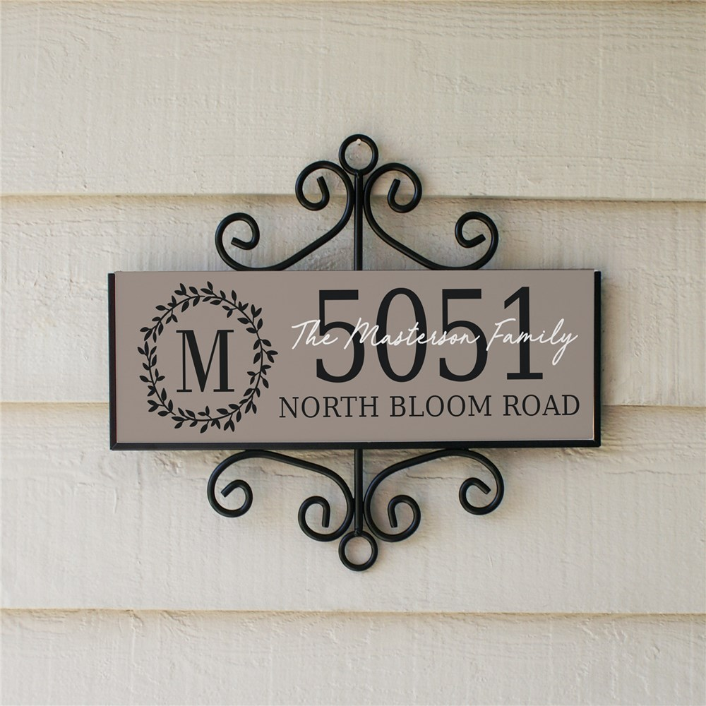 Floral Wreath Signature Horizontal Personalized Address Sign | Personalized Address Signs