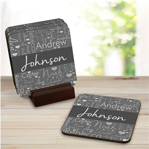 Personalized Word-Art Coaster Set | Personalized Coasters
