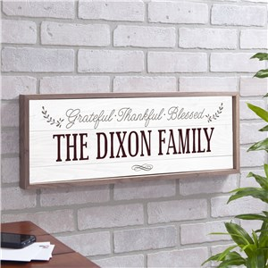 Personalized Grateful Thankful Blessed Wall Sign | Personalized Wood Plank Signs