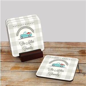 Personalized Coaster - Happy Harvest Truck | Personalized Coasters