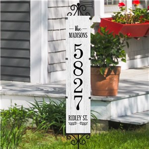 Personalized Distressed White Wood Address Yard Sign 61344719