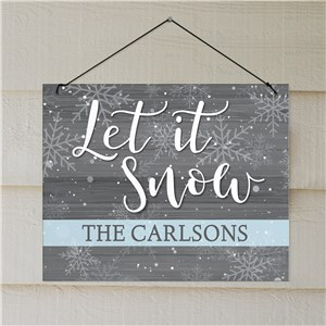 Let It Snow Personalized Wall Sign | Christmas Wall Decor