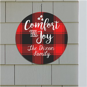 Comfort And Joy Personalized Round Wall Sign | Personalized Plaid Christmas Decor