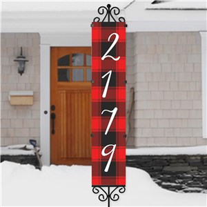 Buffalo Plaid Personalized Christmas Yard Stake | Christmas Address Sign