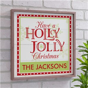 Holly Jolly Christmas Wood Frame Personalized Wall Sign | Christmas Wall Decor