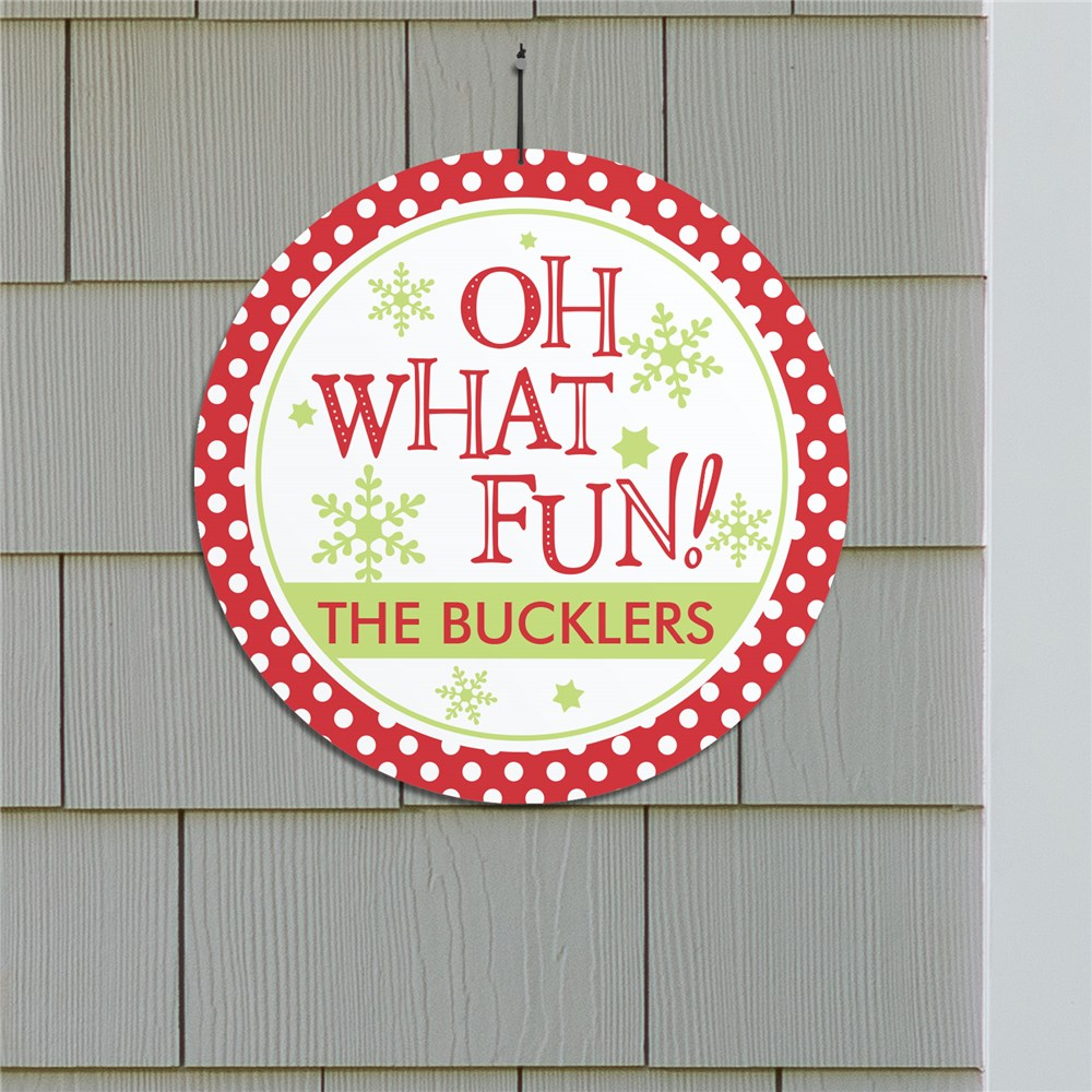 Oh What Fun Personalized Round Wall Sign | Christmas Wall Decor