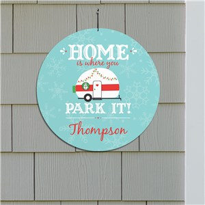 Personalized Home Is Where You Park It Round Wall Sign | Christmas Vintage Camper Decor