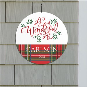 Its A Wonderful Life Round Personalized Wall Sign | Christmas Wall Decor