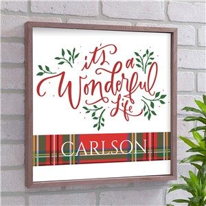 Its A Wonderful Life Framed Personalized Wall Sign | Christmas Wall Decor