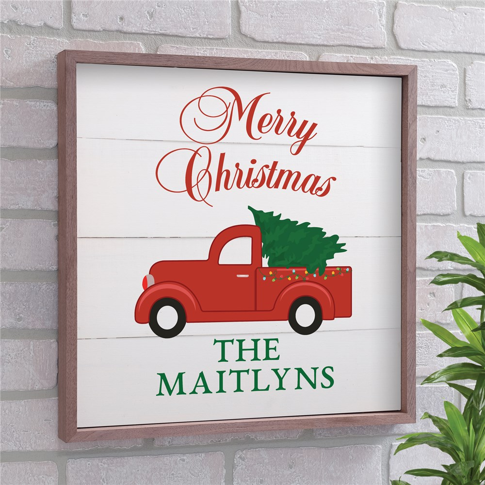 Merry Christmas Or Happy Holidays Red Truck Wood Pallet Wall Decor | Christmas Wall Decor