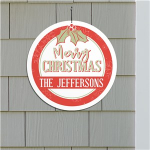 Round Christmas Sign With Name | Outdoor Christmas Decorations With Name