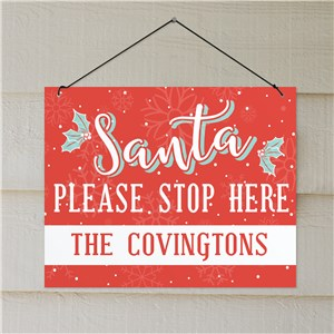 Santa Stop Here Sign | Christmas Signs With Family Name