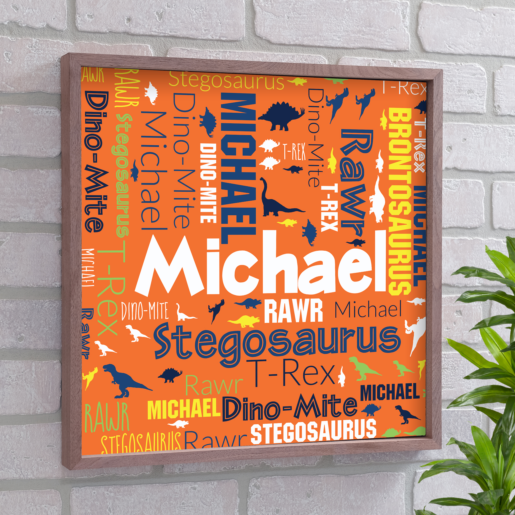 Personalized Dinosaur Art | Personalized Kids Room Sign