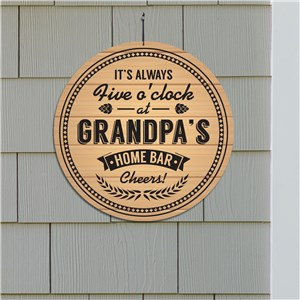 Home Bar Wall Sign | Personalized Always Five O Clock Sign