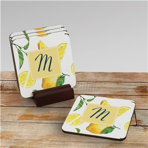Personalized Drink Coasters | Lemon Drink Coasters with Initials