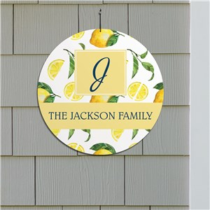 Personalized Round Wall Sign | Lemon Themed Home Decor