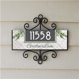 Personalized Botanical Plaid Address Sign 61471118