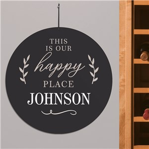 Round Happy Place Sign | Coordinated Home Signs