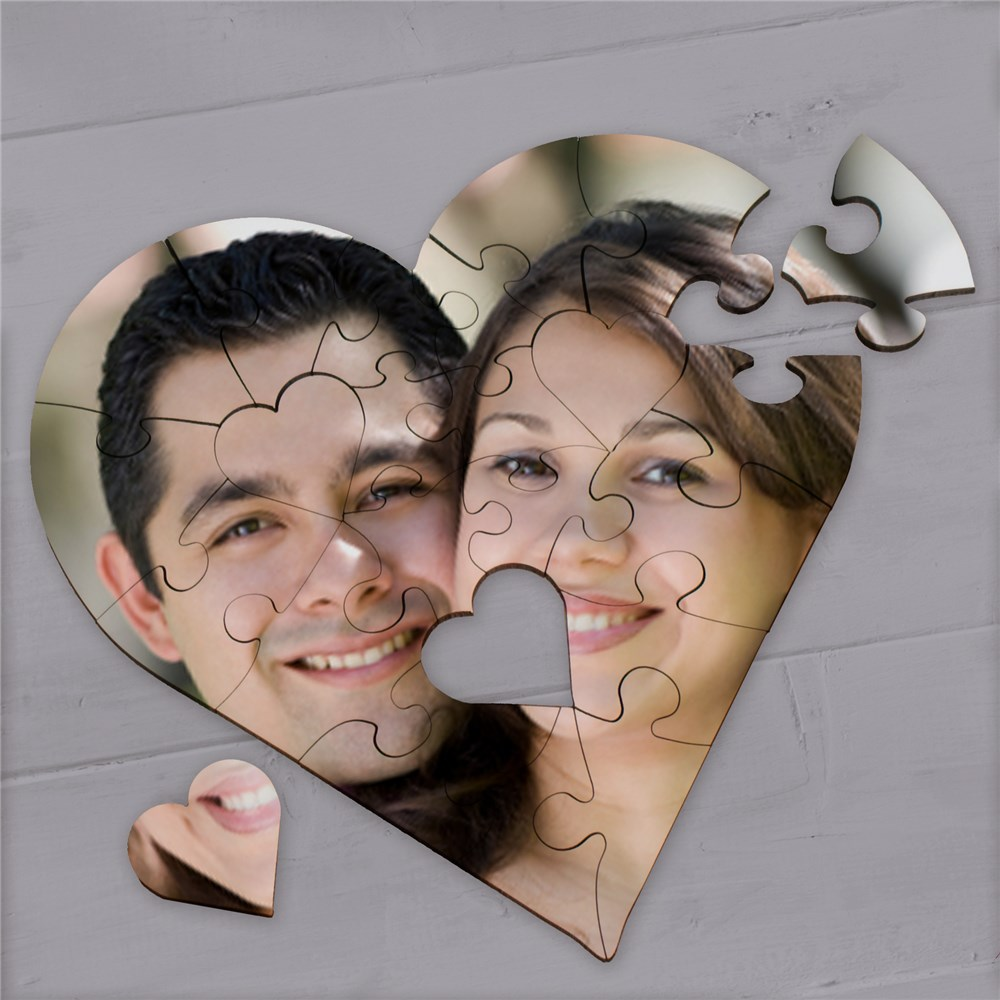 Picture Perfect Personalized Photo Heart Shaped Wood Jig Saw Puzzle | Personalized Romantic Gifts For Him