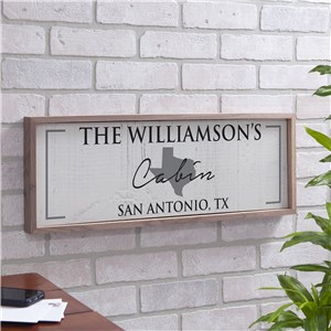 Personalized State Wall Sign | Wood Framed State Sign