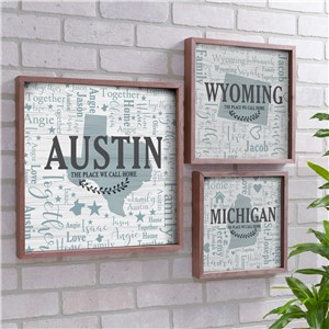Personalized Word-Art Decor with State | Framed Word Cloud Signs