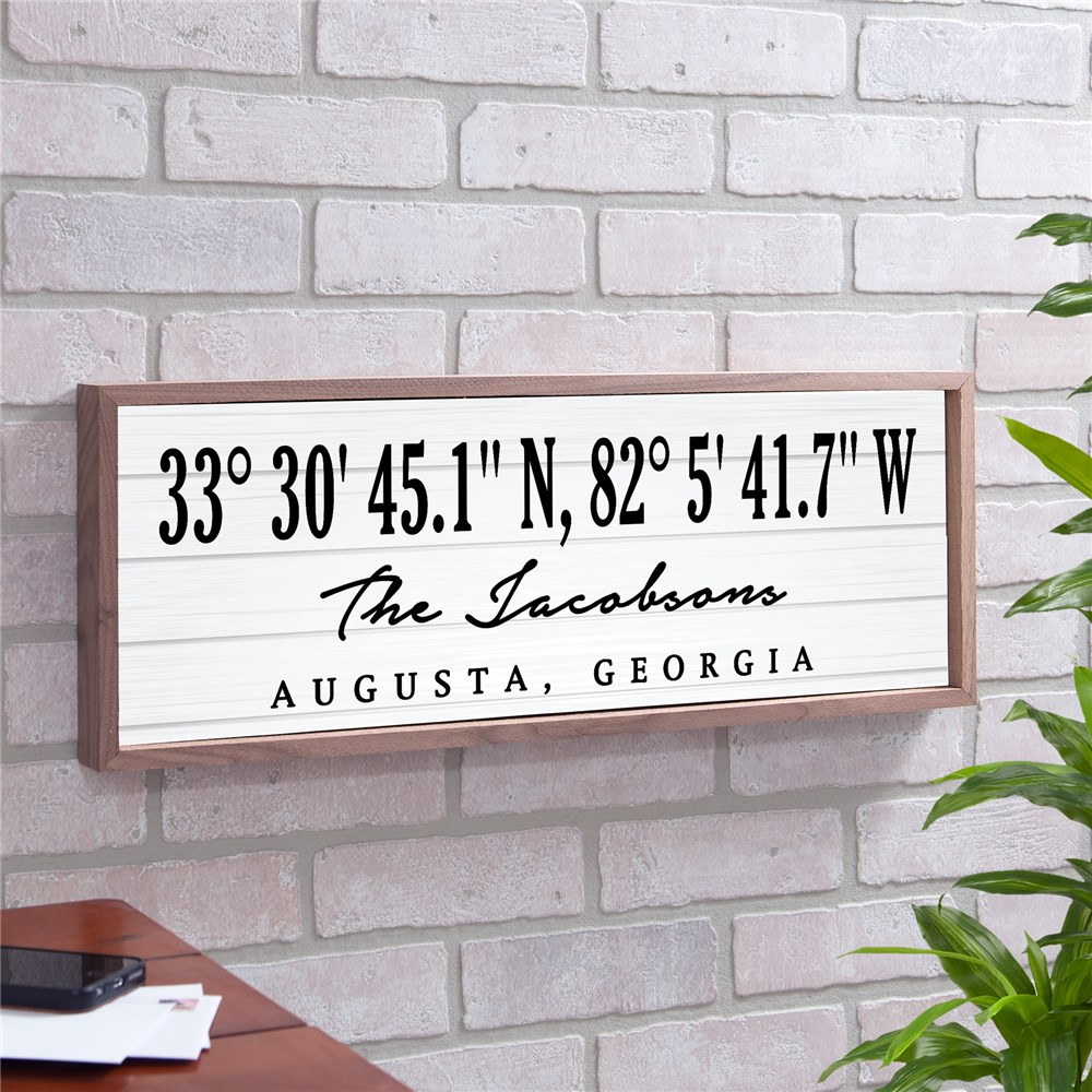 Home Coordinates Personalized Sign | Framed Home Coordinates Sign