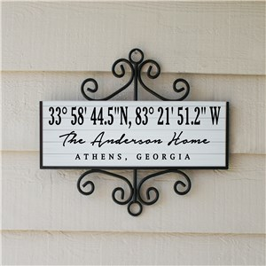 Personalized Coordinates Sign | White Address Sign