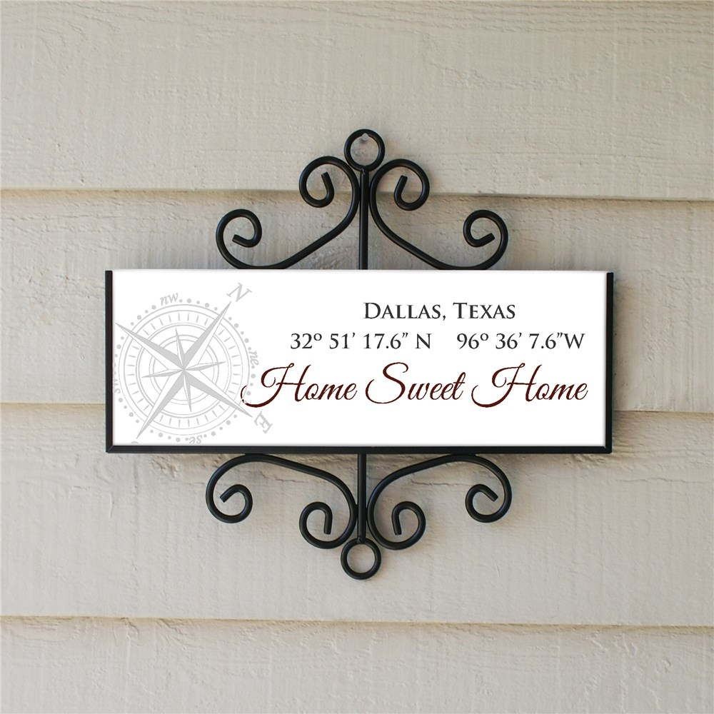 Personalized Coordinates Address Sign | Home Sweet Home Coordinates Sign