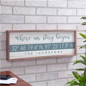 Framed Wood Sign With Coordinates | Personalized Coordinates Wood Sign