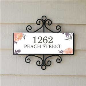 Personalized Signature Signs | White and Floral Address Sign