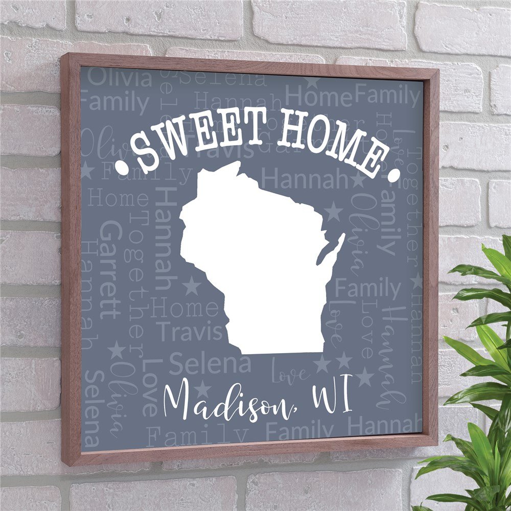 State Framed Wall Decor | Sweet Home State Sign