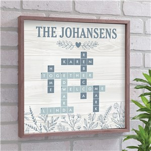 Personalized Blue Floral Crossword Framed Wall Sign 615750X