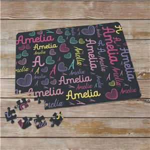 Word-Art Personalized Girls' Puzzle